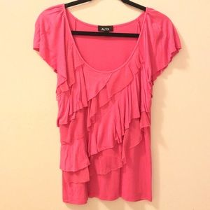 Apt 9 Pink Ruffled Short Sleeved Blouse